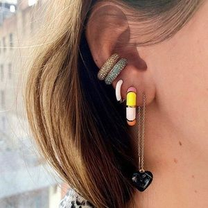 2pc Gold Silver Illusion Cartilage Earrings Cuffs